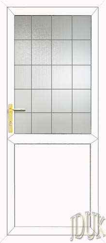 Half Glazed Flat Panel (2xG Style) Square Lead UPVC Back Door