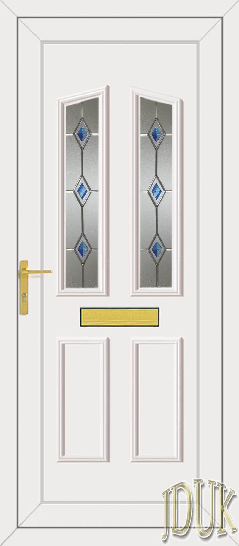 Clinton two blue fusion silver upvc front door for Upvc front doors