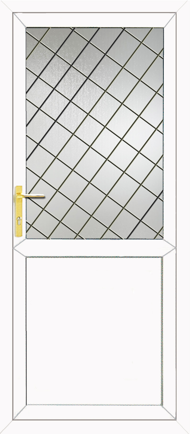 Half glazed flat panel 2xg style diamond lead upvc back door for Back door styles