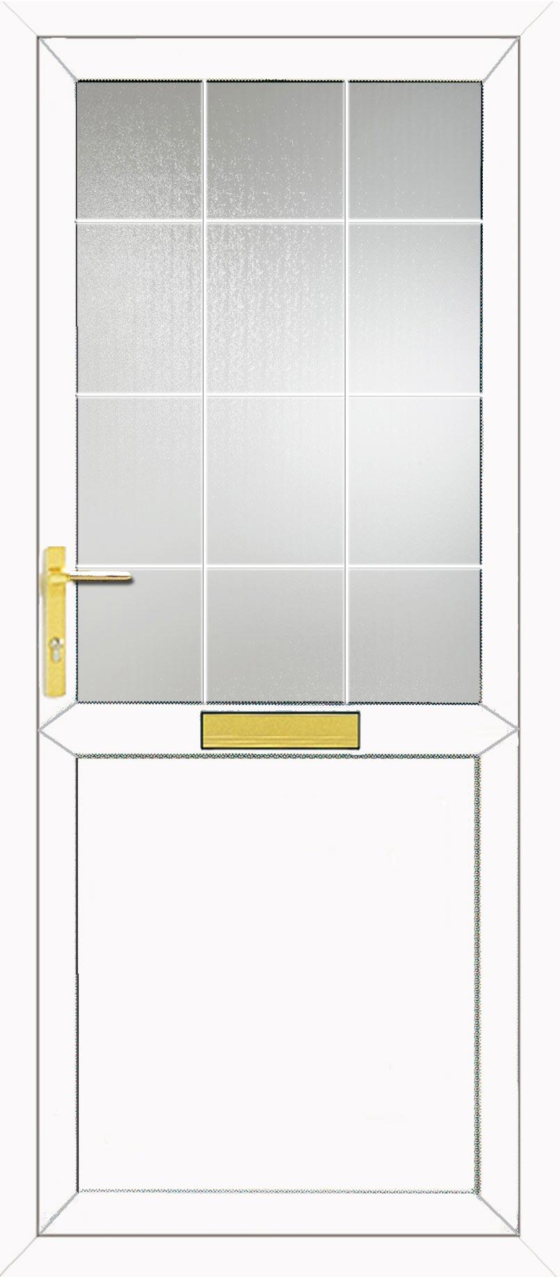 Half Glazed Flat Panel Georgian Bar Upvc Front Door