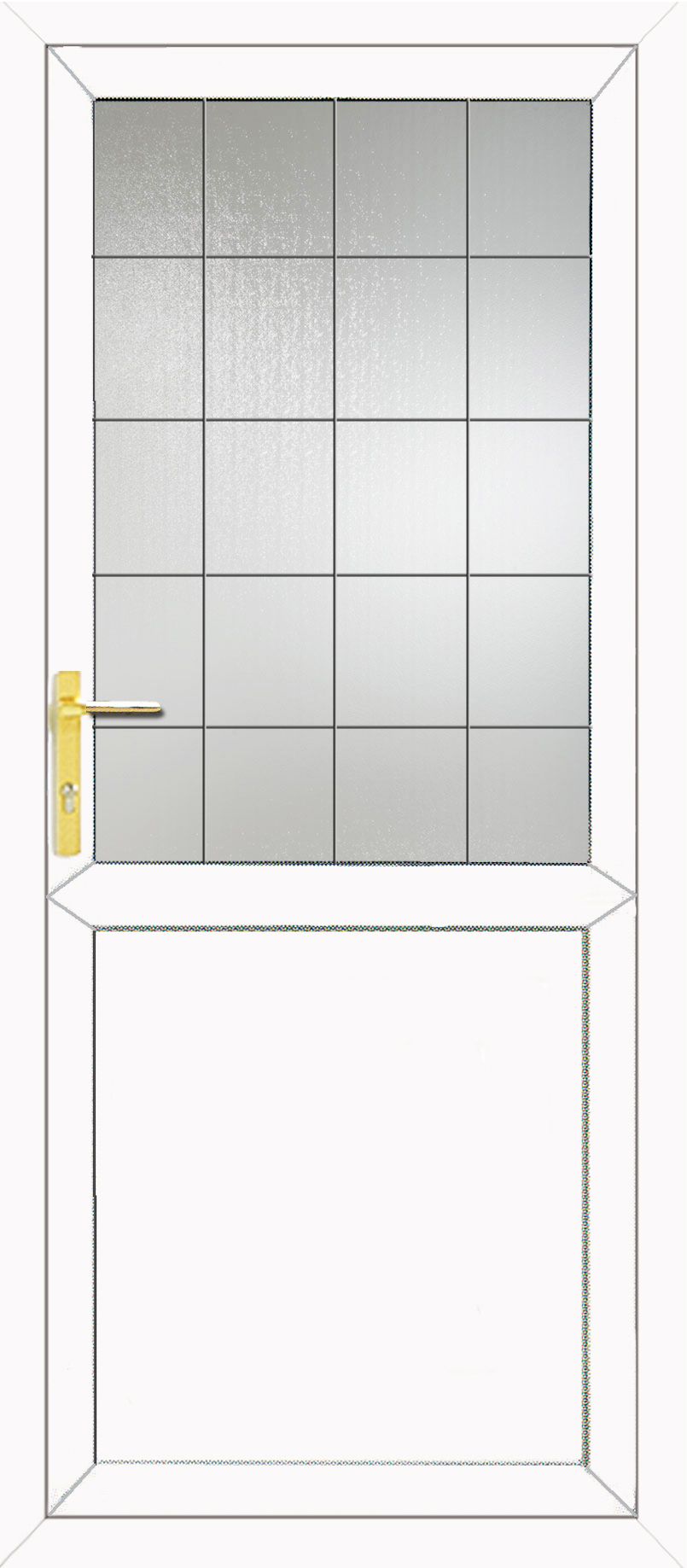 Half glazed flat panel 2xg style square lead upvc back door for Back door styles