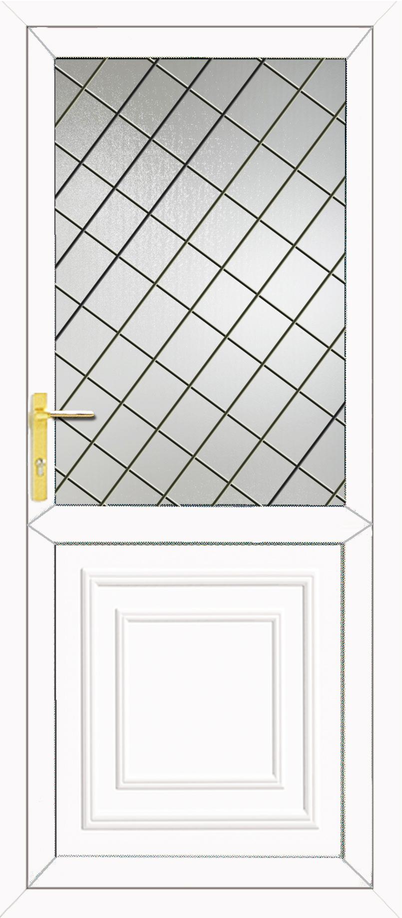 Reagan half panel diamond lead upvc back door for Back door with glass panels