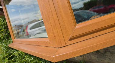 oak bow upvc window