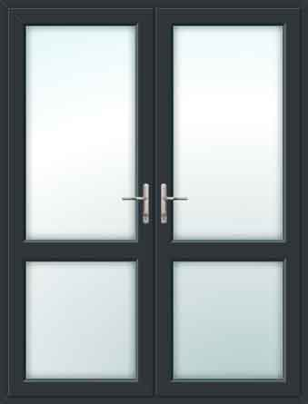 Grey UPVC French Doors with Mid Rails