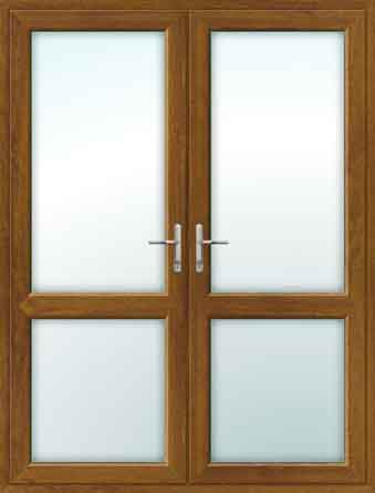Oak UPVC French Doors with Mid Rails