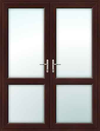 Rosewood UPVC French Doors with Mid Rails