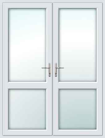 White UPVC French Doors with Mid Rails