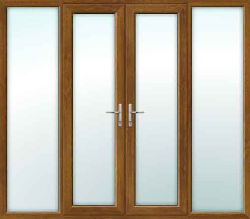 Oak UPVC French Doors with Side Panels