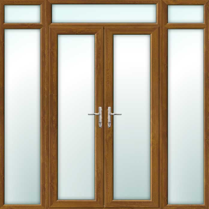 Oak french doors with side panels and top light for Oak exterior french doors