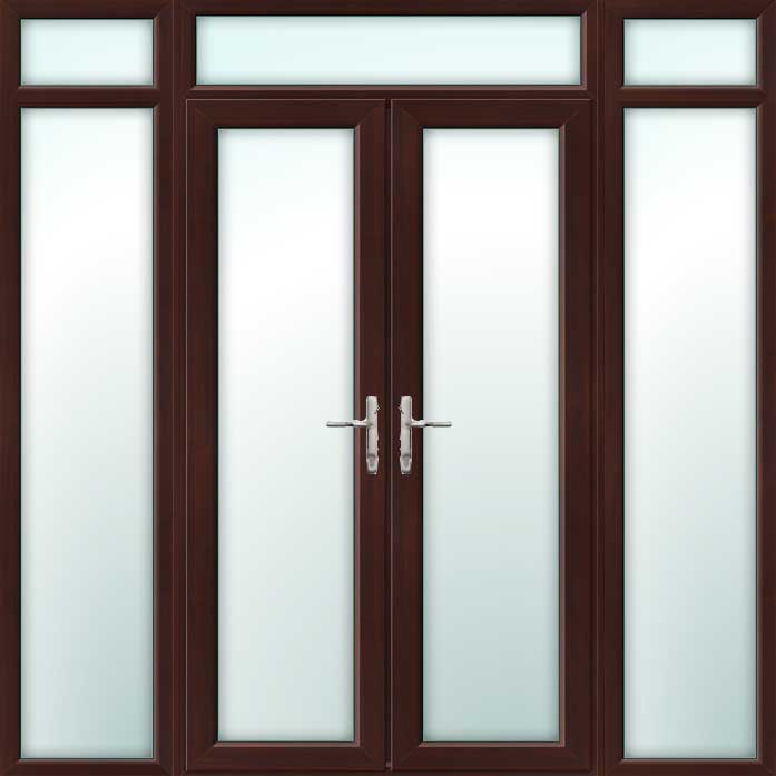 Rosewood UPVC French Doors with Side Panels & Top Light
