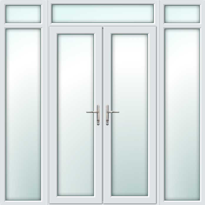 White UPVC French Doors with Side Panels & Top Light