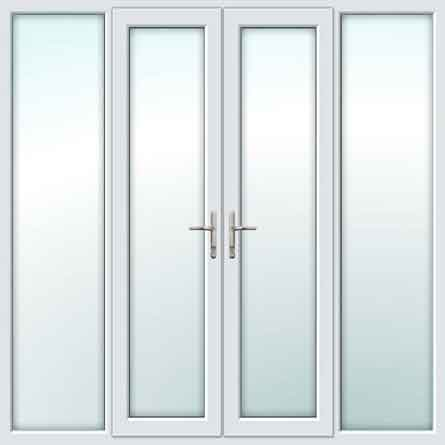 White Upvc French Doors With Side Panels