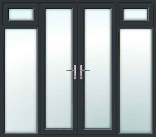 Grey UPVC French Doors with Opening Side Sash Panels