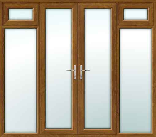 Oak UPVC French Doors with Opening Side Sash Panels