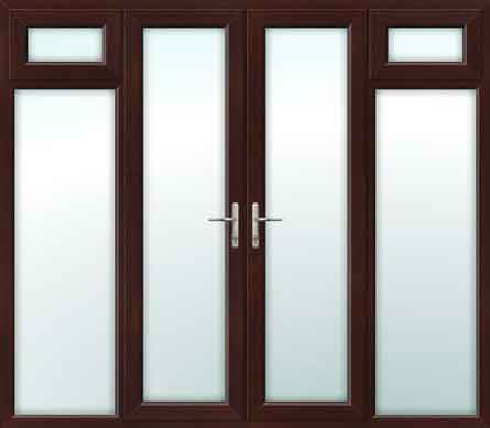Rosewood french doors with side opening windows for Upvc french doors 1200 x 2100