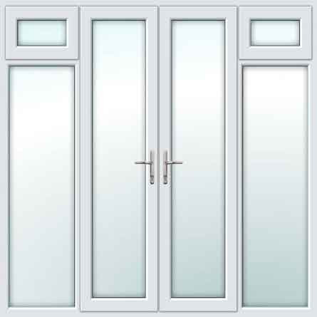 White UPVC French Doors with Opening Side Sash Panels