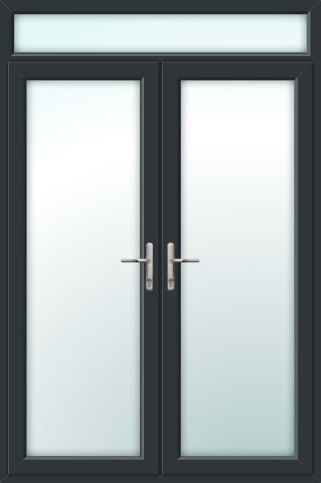 Grey UPVC French Doors with Top Light