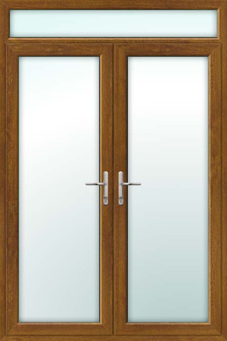 Wood Effect Upvc French Doors Part - 50: Oak UPVC French Doors With Top Light