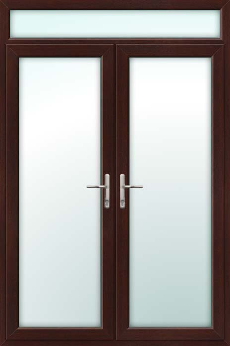Rosewood UPVC French Doors with Top Light