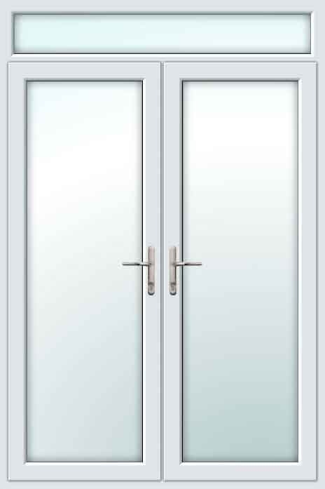 White Upvc French Doors With Top Light