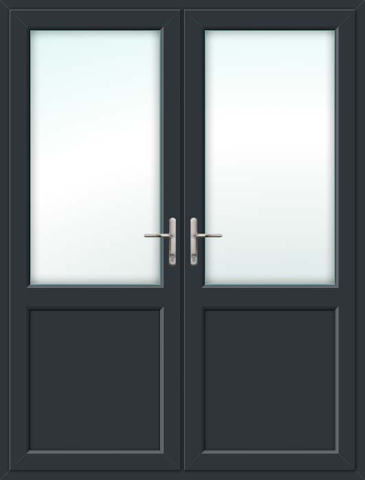 Half Glazed Grey UPVC French Doors