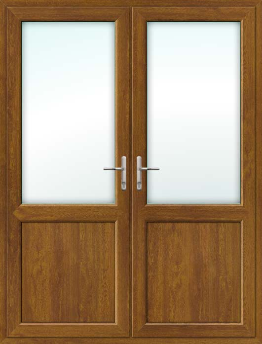 Half Glazed Oak UPVC French Doors