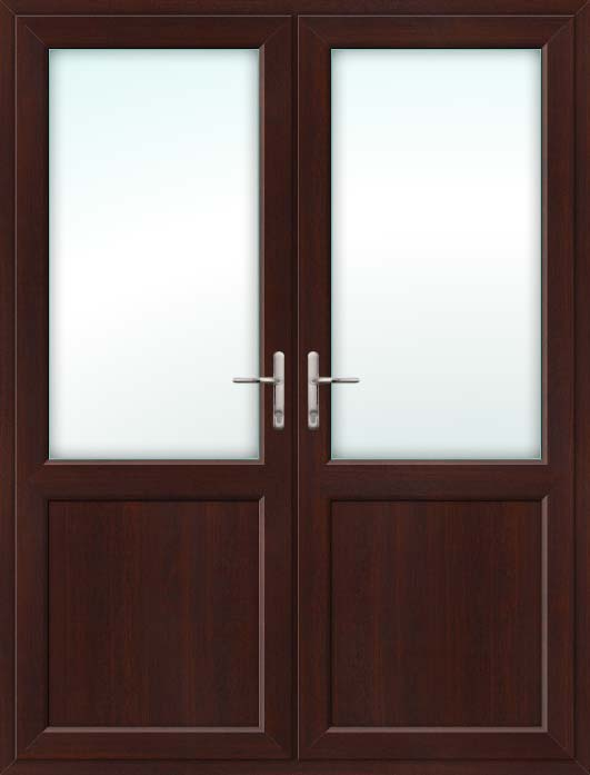 Half Glazed Rosewood UPVC French Doors