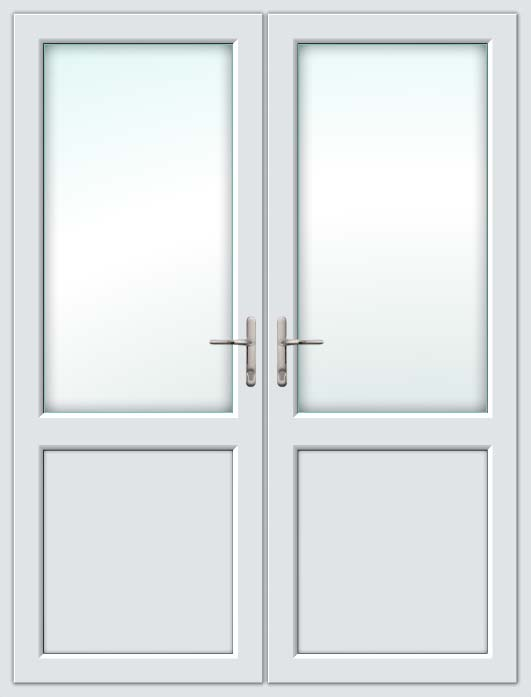 Half Glazed White UPVC French Doors