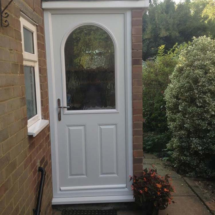 2 Panel 2 Square Glazed Composite Back Door In White
