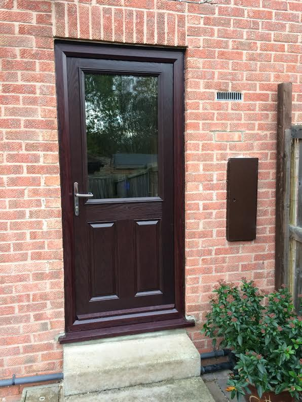 2 Panel 1 Square Glazed in Darkwood Composite Door