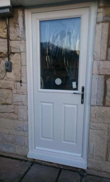 white composite back door