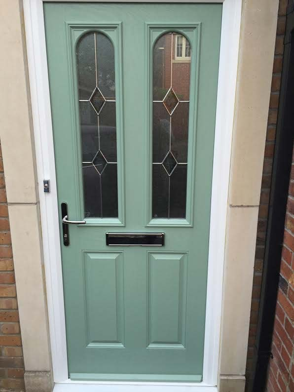 4 Square Centre Glazed Composite Front Door In Grey