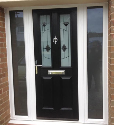 2 Panel 2 Square Murano in Black Composite Door