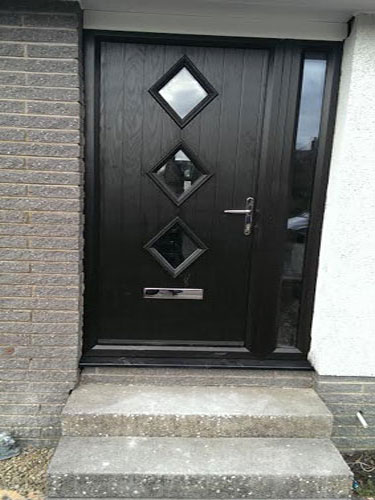 3 Diamond in Black Composite Door