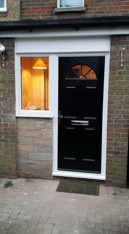 4 Panel Sunburst in Black Composite Door