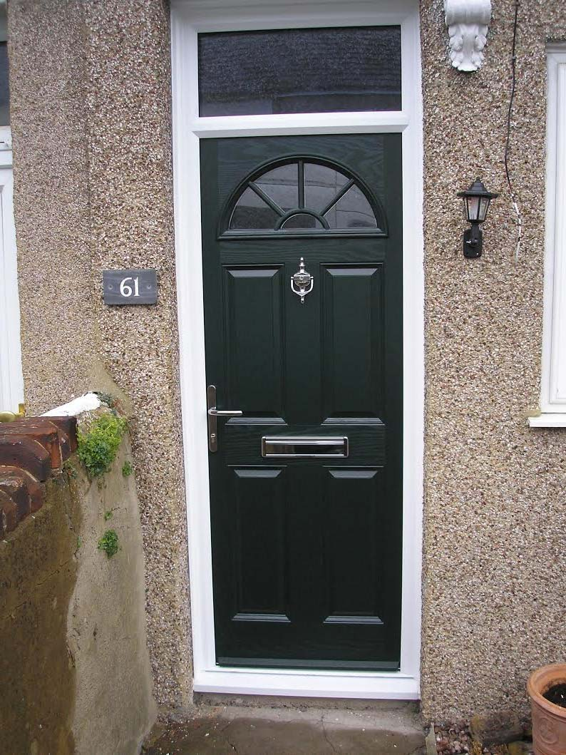 4 Panel Sunburst in Grey Composite Door