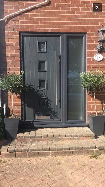 4 Square Glazed Composite Front Door in Grey