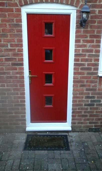 4 Square in Red Composite Door