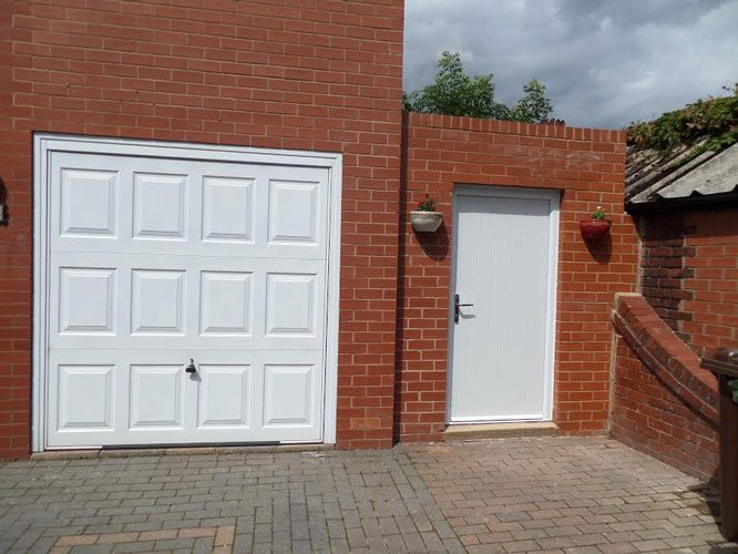 Backing glass options & 2 Panel 1 Grill Composite Back Door in White