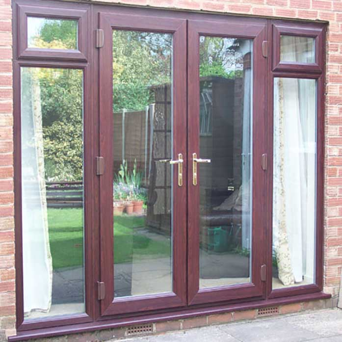 Rosewood french doors with side panels and top light for Double glazed patio doors sale