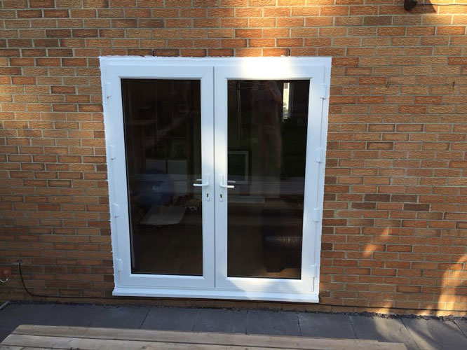Half Glazed White French Doors on