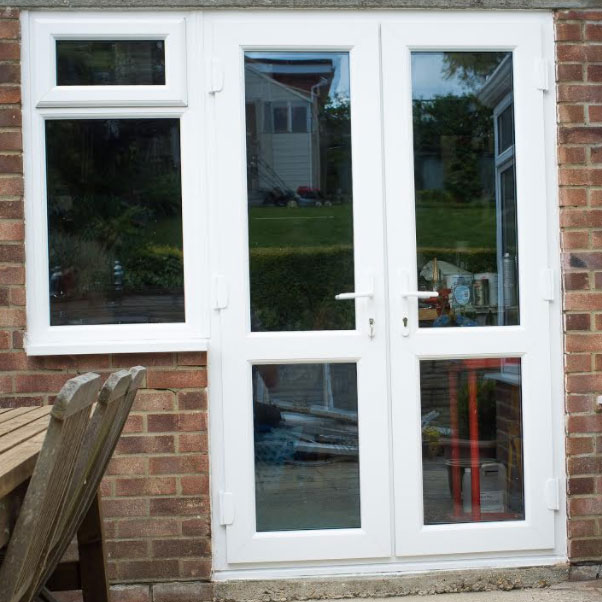 White French Doors with Mid Rails
