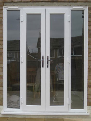 White french doors with side panels for Patio doors with side panels
