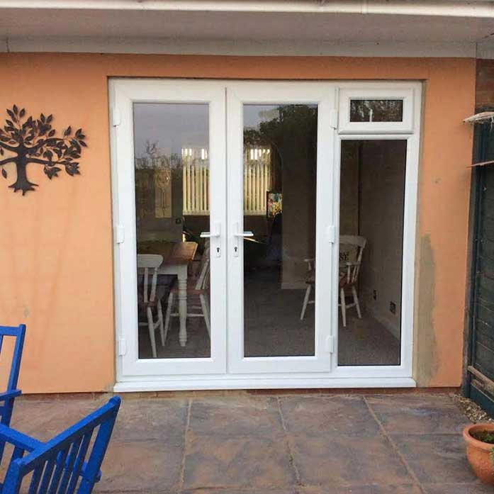 White french doors with side opening windows for Patio doors with side windows