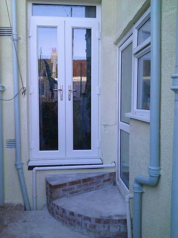 White French Doors And Top Light