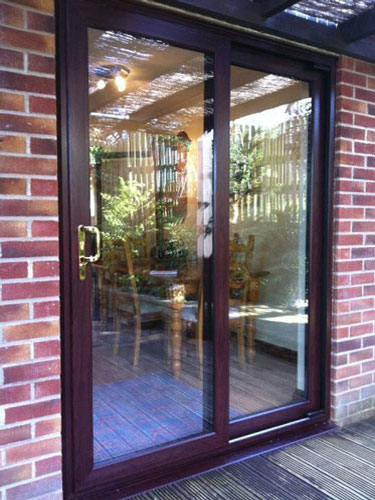 Rosewood Sliding Patio Doors 3 Pane Upvc