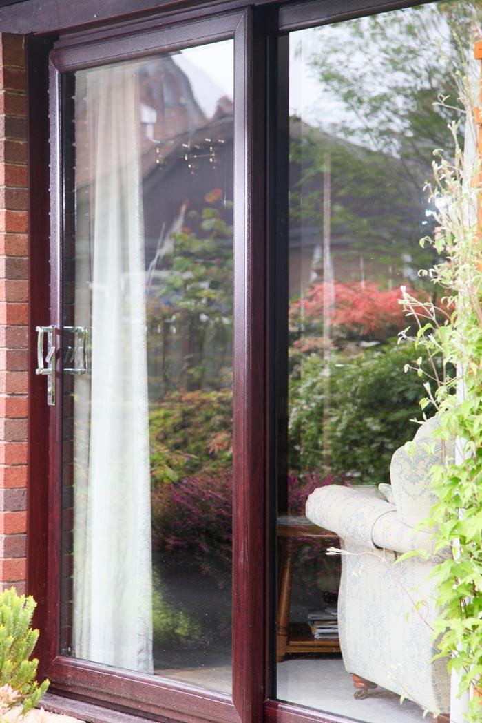rosewood sliding patio doors 2 pane upvc. Black Bedroom Furniture Sets. Home Design Ideas