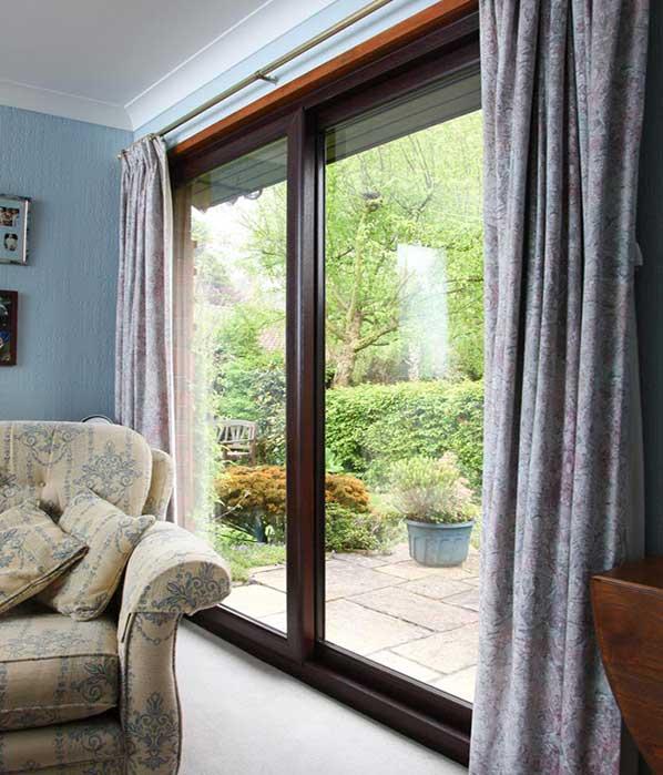 rosewood sliding patio doors 4 pane upvc. Black Bedroom Furniture Sets. Home Design Ideas