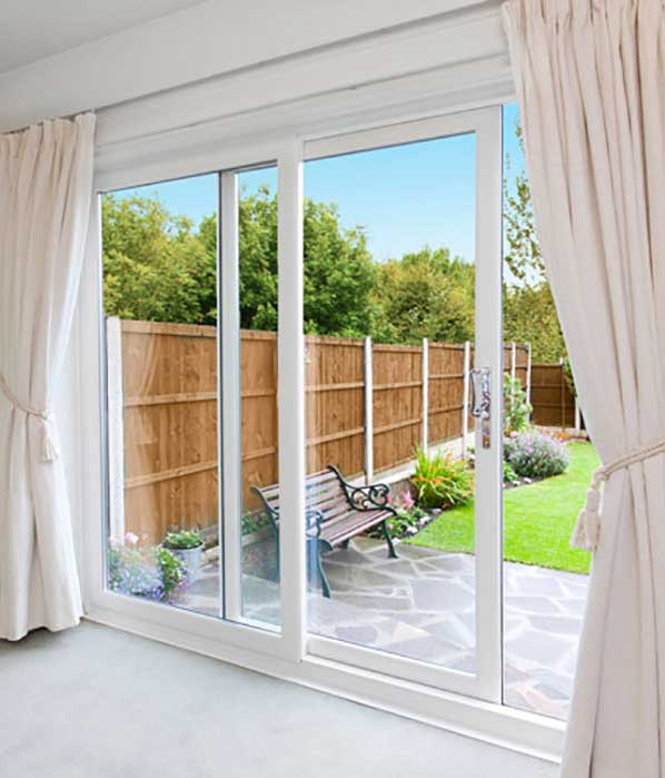 White 2 Pane Sliding Patio Doors
