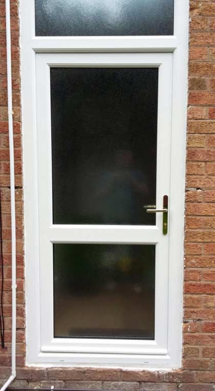 Full Glass with Mid Rail UPVC Back Door